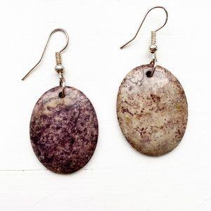 Vintage beige-gray & black speckled stone earrings